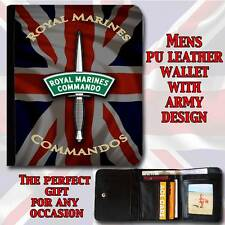 ROYAL MARINES COMMANDOS REGIMENT ARMY MENS FAUX LEATHER WALLET DAD GRANDAD GIFT
