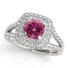 1.00 Carat Pink Diamond Solitaire Ring 14k WG Valentine Day Spl.Sale