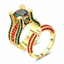 Lady's/Men's 10kt Yellow gold Filled Ring Set Multi-Color CZ Rainbow Topaz Size8