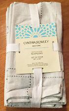 "Cynthia Rowley Natural Silver Stitching Napkins Set of 4 -  20""x20"" 100% Cotton"