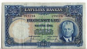 Latvia 1934 50 Latu P-20A Latvijas Bankas VF Ulmanis