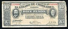 1914 10 PESOS EL ESTADO DE CHIHUAHUA CHIHUAHUA, MEXICO BANKNOTE
