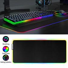 LED 9 Lighting Large Gaming Mouse Keyboard Pad RGB Glowing Mat 12x23.5