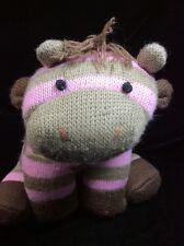"Animal Adventure Sock Knit Zebra Pink Brown Plush Soft Toy Stuffed 8"""