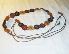 COOL VINTAGE ANGLO SAXON STYLE WOOD DISCS &  MOCK LEATHER THONGS FESTIVAL HIPPY