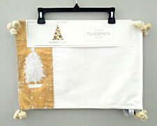 "Grammercy Studio Ivory Gold Metallic White Tree With Star 4 Placemats 13"" x 19"""