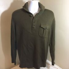 J.Crew Mens Brown Sweater Long Sleeve 100% Wool Military Style Free Shipping!