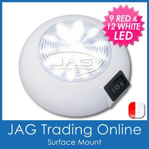 12V 21 RED/WHITE LED CABIN DOME NIGHT LIGHT - Boat/Caravan/Interior/4x4/RV Lamp