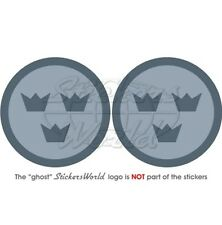 """SWEDEN Swedish AirForce LowVis Aircraft Roundel 75mm (3"""") Stickers Decals x2"""