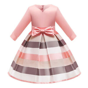 Girls Long Sleeve Formal Cocktail Dress Kids Gown Wedding Party Princess Dresses