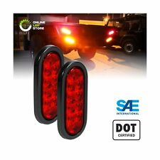 "2pc 6"" Red Oval LED Trailer Tail Light Kit [DOT FMVSS 108] [SAE S2TSI6P2] [Gr..."