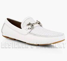 SALVATORE FERRAGAMO white leather 9D PARIGI BIT driving Moccasin shoes NIB Auth!