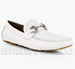 SALVATORE FERRAGAMO white leathr 9.5E PARIGI BIT driving Moccasin shoes NIB Auth