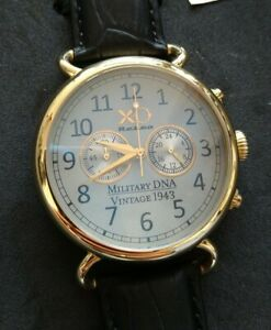 New XO Retro Military DNA Fortress Vintage Chronograph Watch Gold Leather Strap