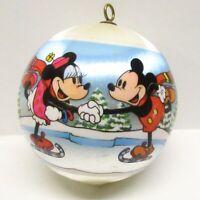 Vintage 1980 Mickey Mouse Skate Santa Ornament Unbreakable Satin Hallmark w/Box