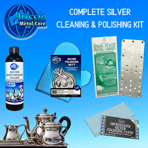 Silver Cleaner Polish Kit with Silver Polish, Silver Cleaning Plate Mitt & Cloth
