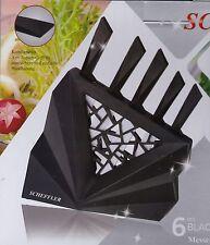 Bloque de cuchillos set 6-piezas cuchillos, bloque de diseño en negro