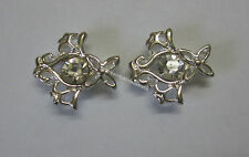 Spacer Slider Bead 13x11mm Silver Tone Metal Floral Diamontes for 2 Strand JF808