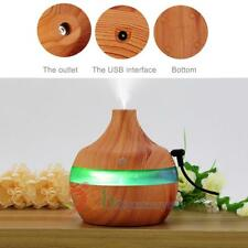 USB 300ml Humidifier Purifier Wood Grain LED Essential Oil Diffuser Color Change