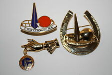 Lot of 3 Pins 1939 NEW YORK WORLD'S FAIR Trylon Perisphere Metal Brooch Lapel