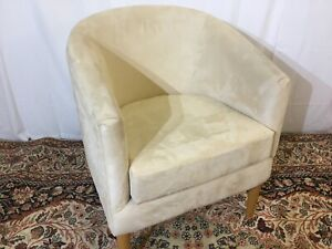 CREAM SUEDE TUB CHAIR