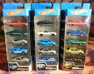 15 Hot Wheels 3 Different Sealed Fast & Furious 5-Packs 2019-21 EVO NISSAN FORD