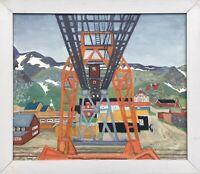 Impressionist Karl Adser 1912-1995 Grönland Seilbahn im Hafen Greenland 78 x 89