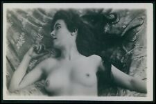 French nude woman Long hair brunette original early c1900s photo postcard