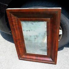 Antique Late 1800's Empire Mahogany Ogee Wall Mirror Chamfered Picture Frame