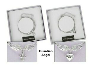 Equilibrium Angel Wings White Gold Plated Charm Bracelet Gift Boxed