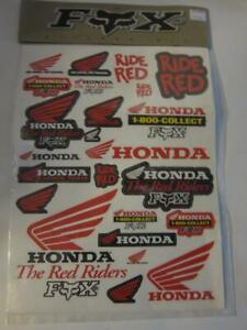 Honda Red Riders Sticker sheet Decal Motorcycle Fox racing team 25 stickers MIP