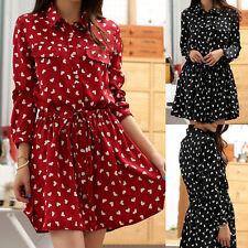 Women Ladies Casual Summer Shirt Dress Clubwear AU Size 8 10 12 14 16 18 #9469