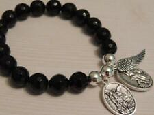 SAINT MICHAEL-GUARDIAN ANGEL & ANGEL WING-10MM BLACK FACETED GEMSTONE BRACELET