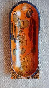 Ramos Filemon Mexican Folk Art Painted Wood Batea Vintage