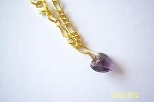 10mm AMETHYST CRYSTAL HEART GOLD PLATED FIGARO ANKLE CHAIN ANKLET BRACELET NEW
