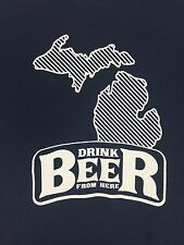New DRINK BEER FROM HERE Michigan Navy Blue T-Shirt Short Sleeve 100% Cotton