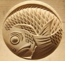 19ksg64  ANTIQUE JAPANESE KASHIGATA CAKE MOLD ROUND TYPE SEA BREAM FISH  WOOD