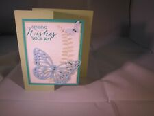 Green Sending Wishes Your Way Birthday Thanks Note Card Kit 4 w/Some Stampin Up