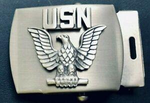 """USN NAVY Enlisted SILVER COLOR Badge DRESS BUCKLE N.S MEYER for 1.25"""" belt-5"""