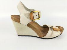 Clarks Artisan Cream Leather Wedge Heel Sandals Uk 5 D Eu 38