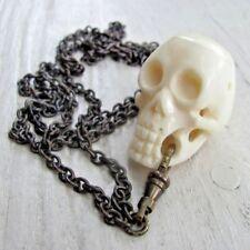 Vtg human 3d Skull Necklace Memento Mori DOTD Retro 80s goth Men handmade bone