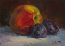 Original Oil painting, Still life kitchen art, Peach and Plums