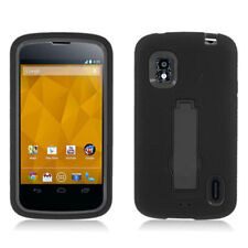 For T-Mobile LG Nexus 4 Impact Hard Rubber Case Phone Cover Kick Stand Black