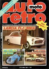 AUTO MOTO RETRO N° 33 MAI 1983 LANCIA FLAMINIA DELAGE 3L COCCINELLE CAB TBE