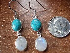 Moonstone and Turquoise Double Gem 925 Sterling Silver Dangle Earrings