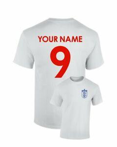 Personalised England Football Cotton T-Shirt Name Number Birthday Custom Euros