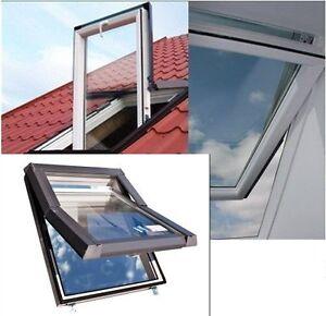 Dachfenster Kunststoff SKYFENSTER SKYLIGHT 66x118 + Eindeckrahmen + ROLLO GRATIS