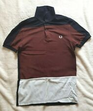 Fred Perry - White, brown & navy-blue polo shirt - Size: S