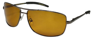 FLY-DEF High-Def Polarized Fishing sunglasses Gold Lens Metal Rectangle Aviator
