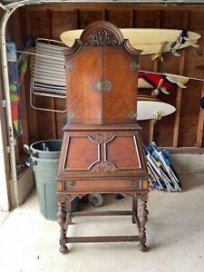 Mahogany Secretary Desk with Chair